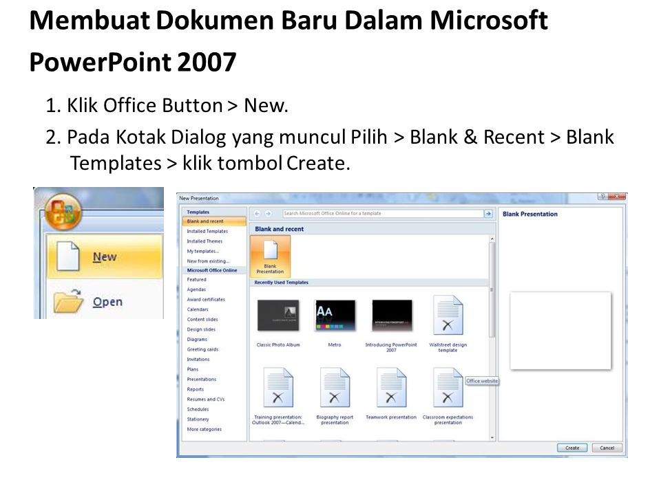 Membuat Dokumen Baru Dalam Microsoft PowerPoint 2007