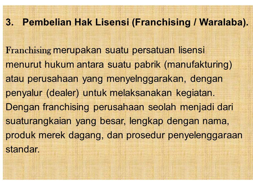 Pembelian Hak Lisensi (Franchising / Waralaba).
