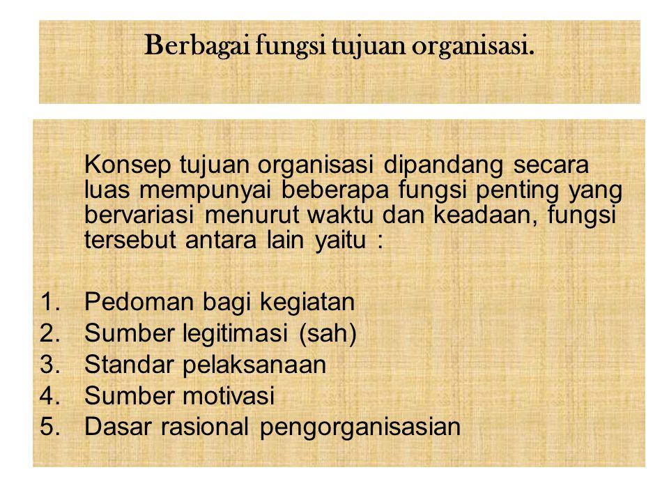 Berbagai fungsi tujuan organisasi.