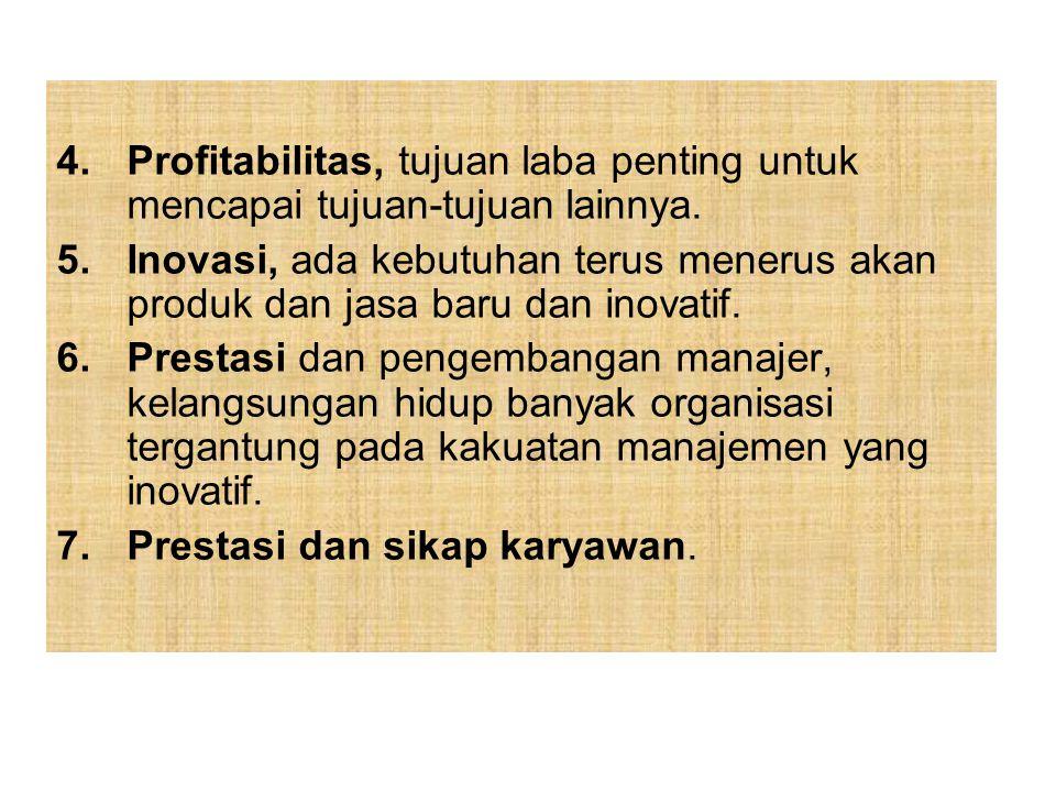 Profitabilitas, tujuan laba penting untuk mencapai tujuan-tujuan lainnya.