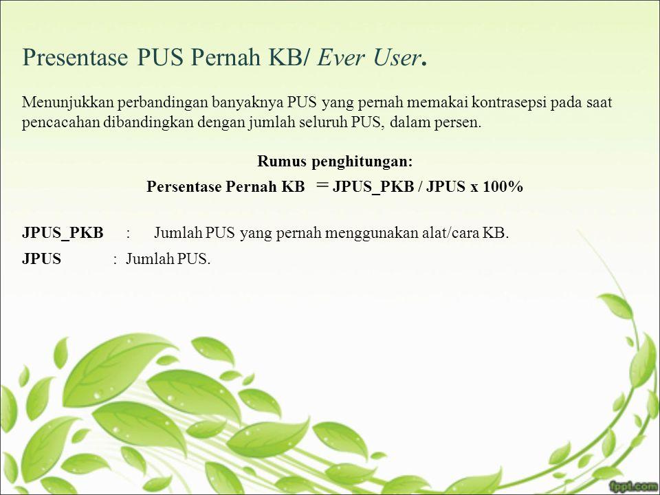 Persentase Pernah KB = JPUS_PKB / JPUS x 100%