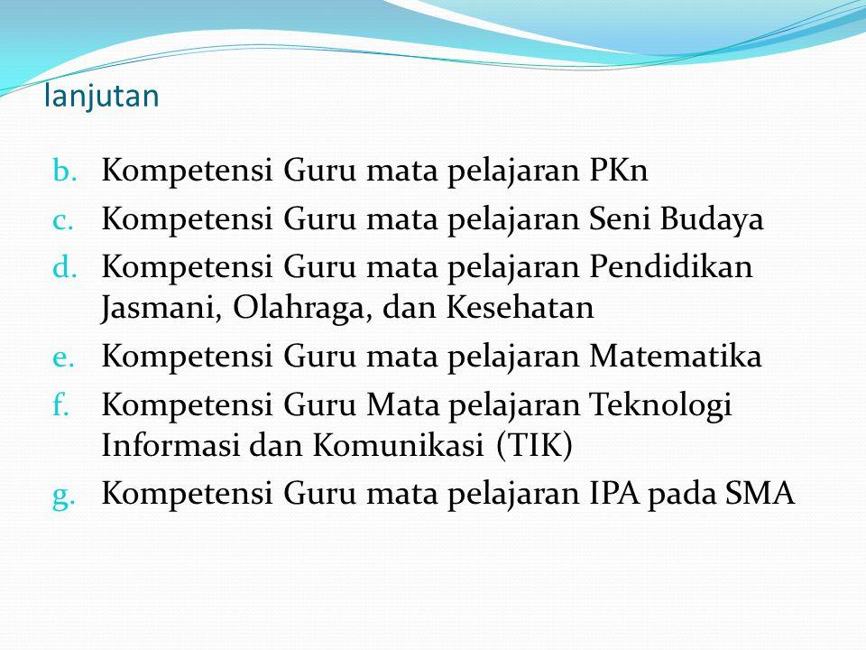 lanjutan Kompetensi Guru mata pelajaran PKn