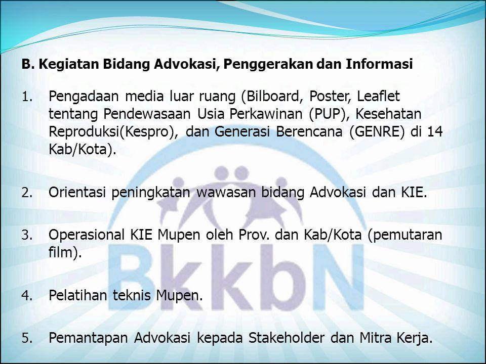 Orientasi peningkatan wawasan bidang Advokasi dan KIE.