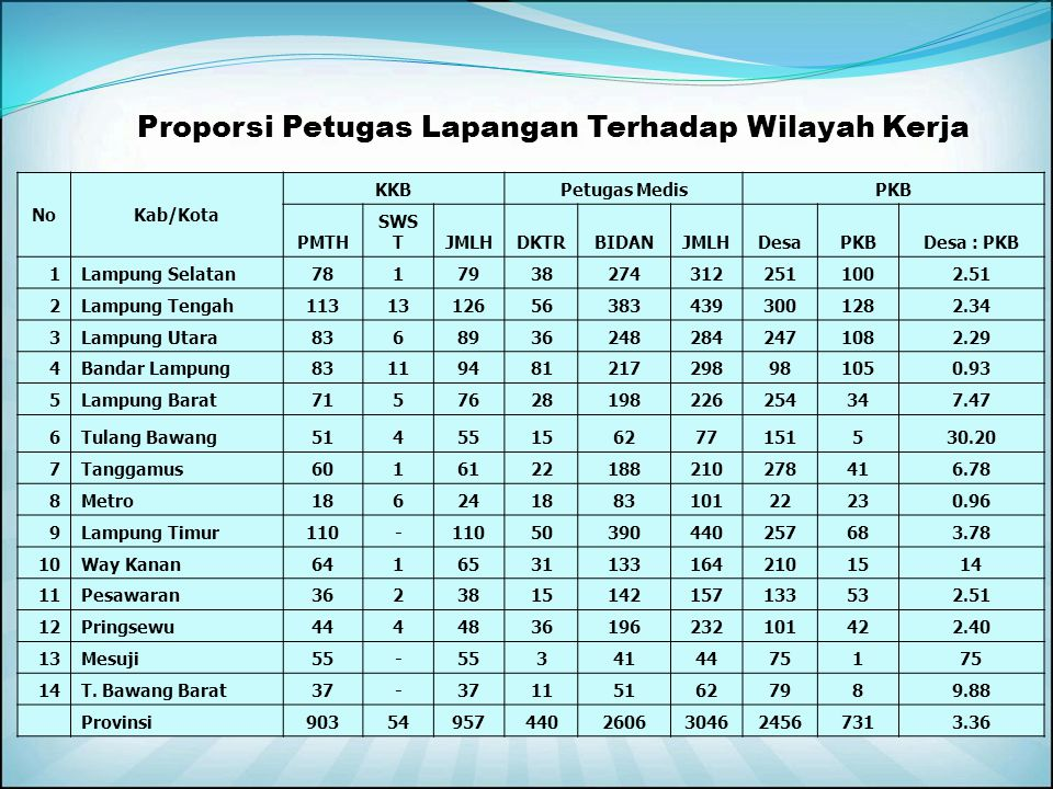 Proporsi Petugas Lapangan Terhadap Wilayah Kerja