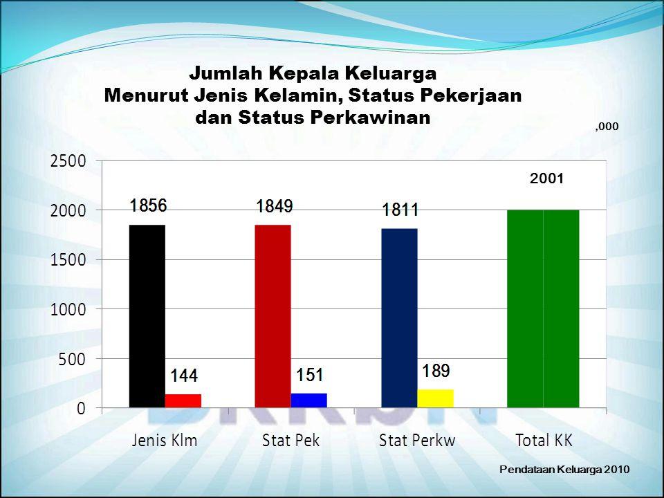 Jumlah Kepala Keluarga Menurut Jenis Kelamin, Status Pekerjaan