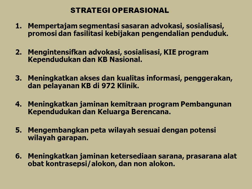 STRATEGI OPERASIONAL Mempertajam segmentasi sasaran advokasi, sosialisasi, promosi dan fasilitasi kebijakan pengendalian penduduk.