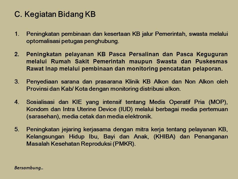 Kegiatan Bidang KB Peningkatan pembinaan dan kesertaan KB jalur Pemerintah, swasta melalui optomalisasi petugas penghubung.