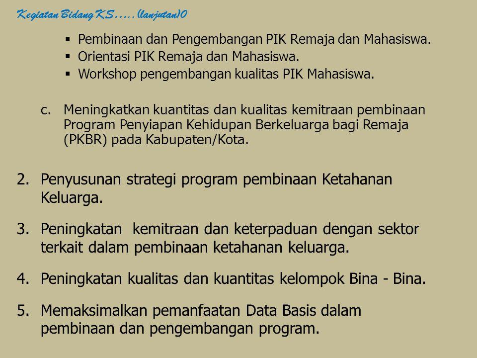 Penyusunan strategi program pembinaan Ketahanan Keluarga.