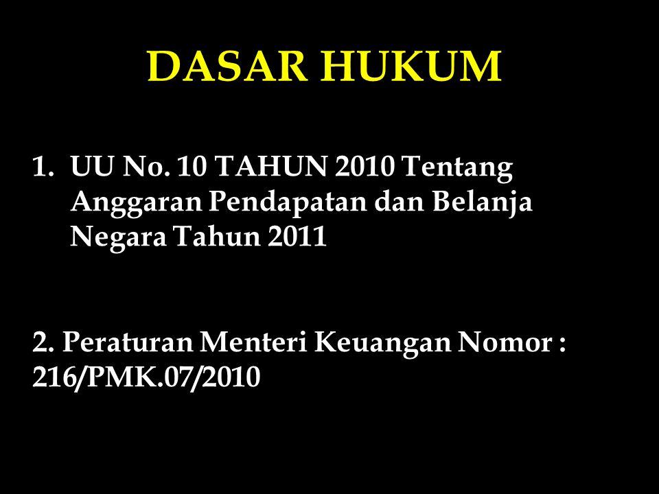 DASAR HUKUM UU No. 10 TAHUN 2010 Tentang Anggaran Pendapatan dan Belanja Negara Tahun 2011 tertanggal 19 Nopember 2010.