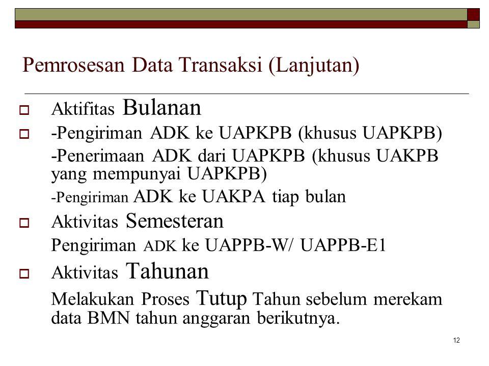 Pemrosesan Data Transaksi (Lanjutan)
