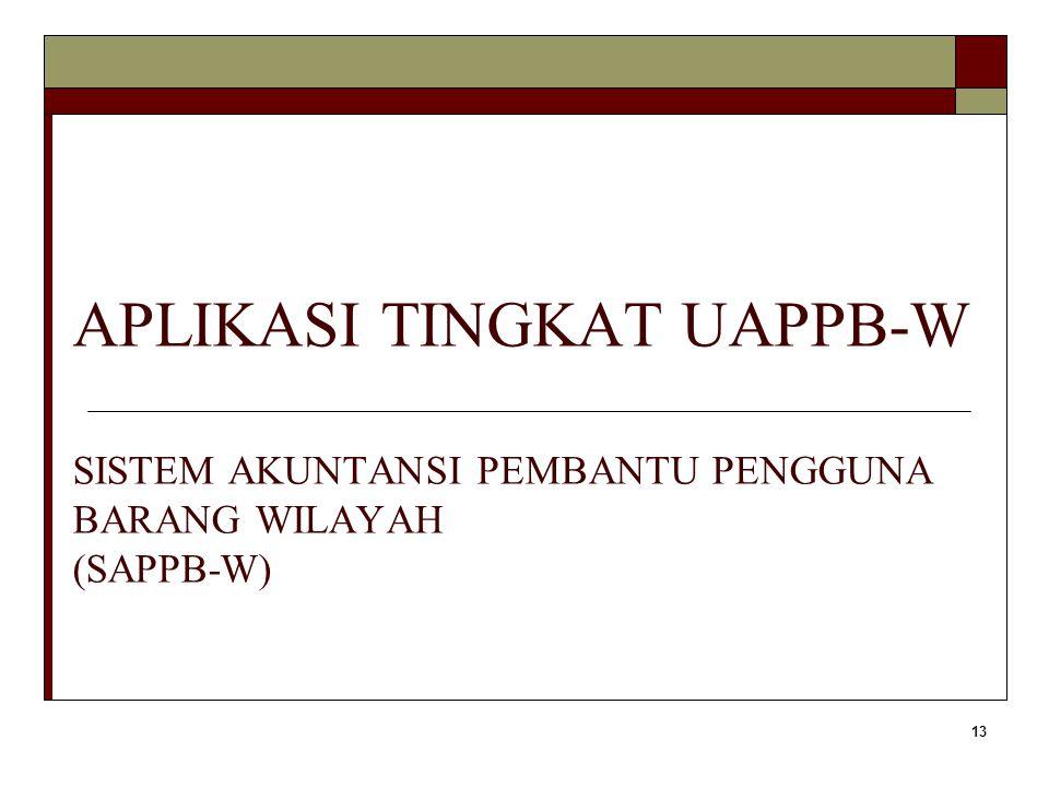 APLIKASI TINGKAT UAPPB-W SISTEM AKUNTANSI PEMBANTU PENGGUNA BARANG WILAYAH (SAPPB-W)