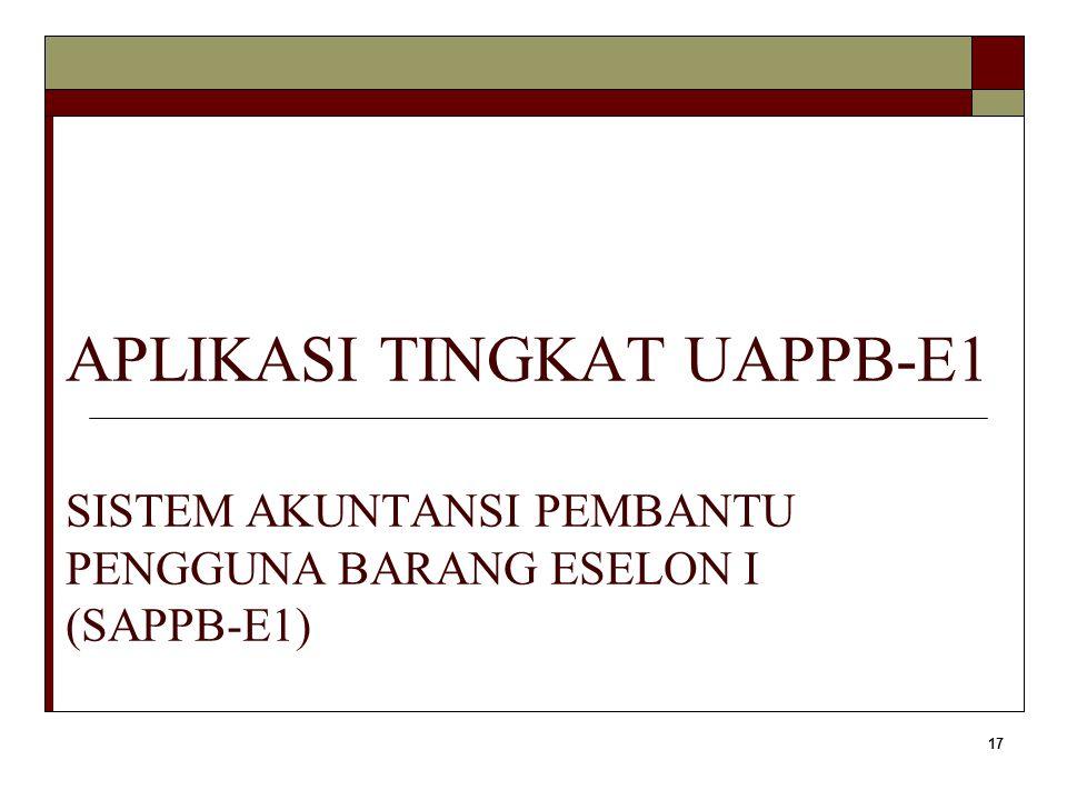 APLIKASI TINGKAT UAPPB-E1 SISTEM AKUNTANSI PEMBANTU PENGGUNA BARANG ESELON I (SAPPB-E1)