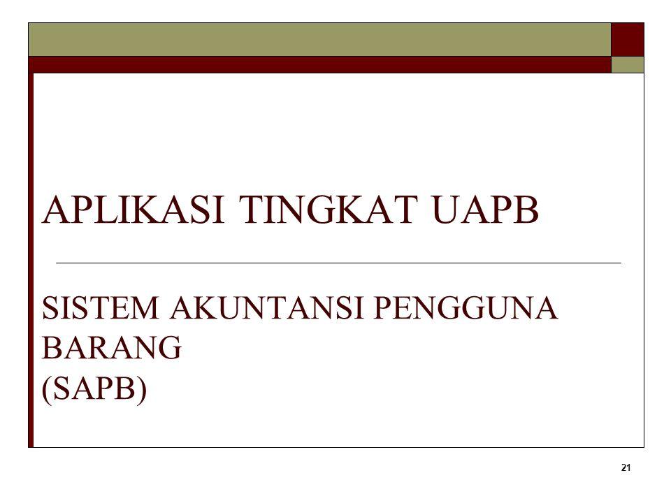 APLIKASI TINGKAT UAPB SISTEM AKUNTANSI PENGGUNA BARANG (SAPB)