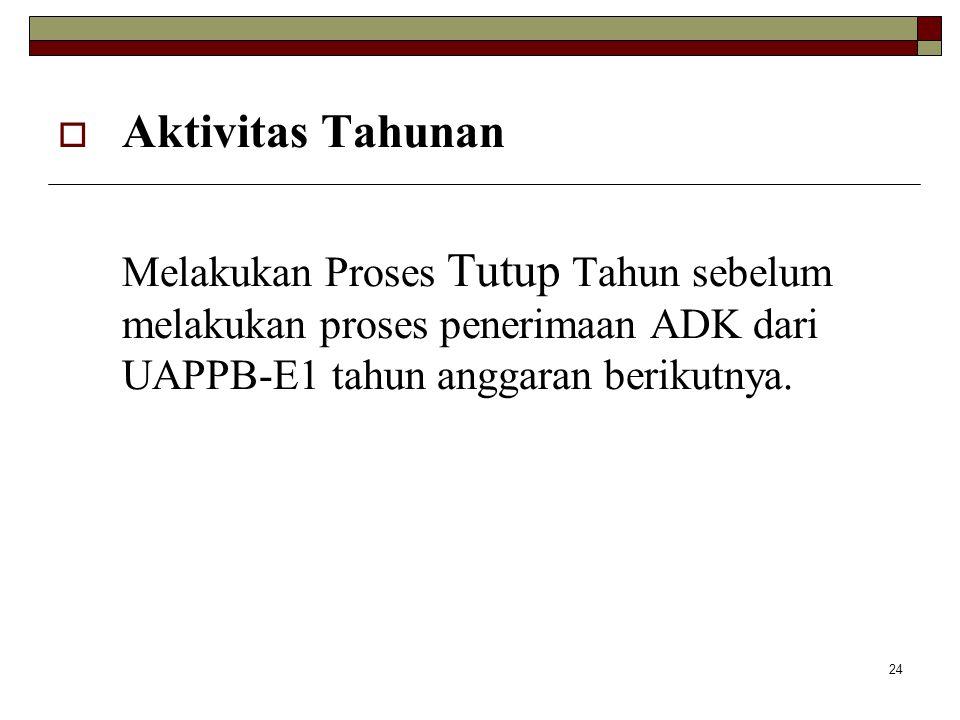 Aktivitas Tahunan Melakukan Proses Tutup Tahun sebelum melakukan proses penerimaan ADK dari UAPPB-E1 tahun anggaran berikutnya.