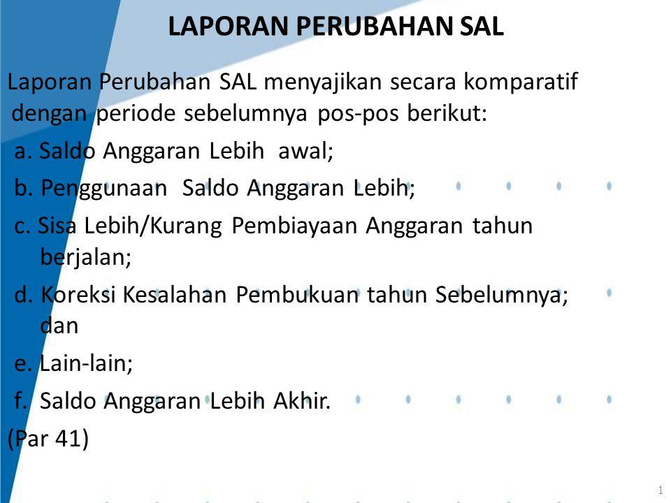 LAPORAN PERUBAHAN SAL Laporan Perubahan SAL menyajikan secara komparatif dengan periode sebelumnya pos-pos berikut: