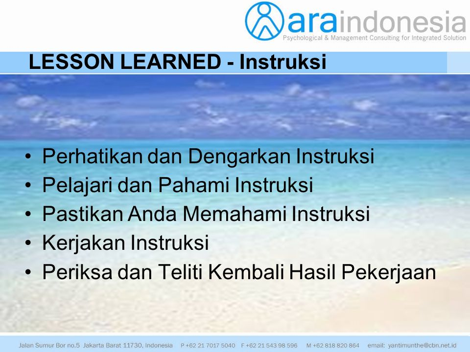 LESSON LEARNED - Instruksi