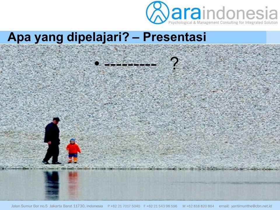 Apa yang dipelajari – Presentasi