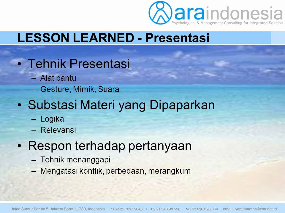 LESSON LEARNED - Presentasi