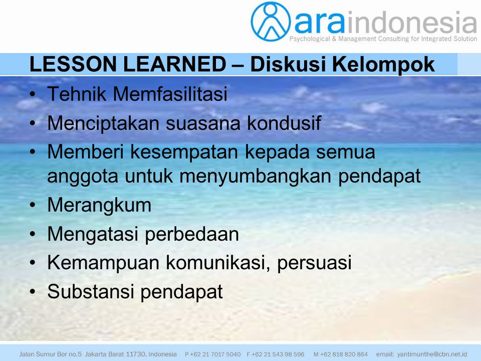 LESSON LEARNED – Diskusi Kelompok