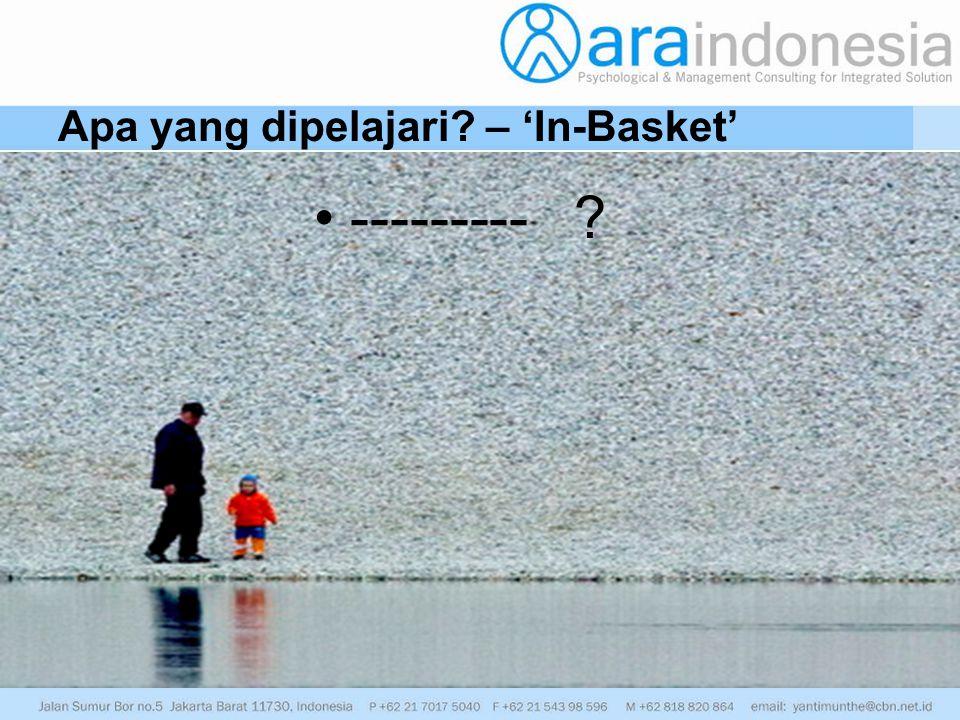 Apa yang dipelajari – 'In-Basket'