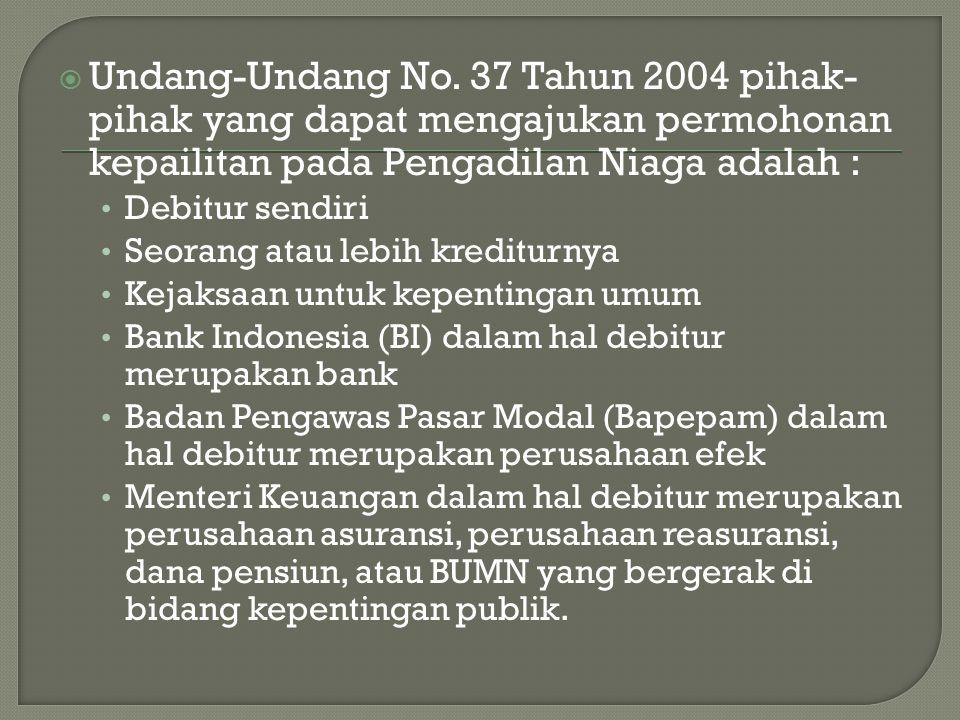 Undang-Undang No. 37 Tahun 2004 pihak-pihak yang dapat mengajukan permohonan kepailitan pada Pengadilan Niaga adalah :