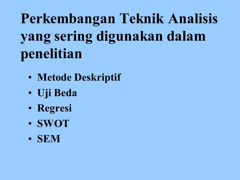 Perkembangan Teknik Analisis yang sering digunakan dalam penelitian