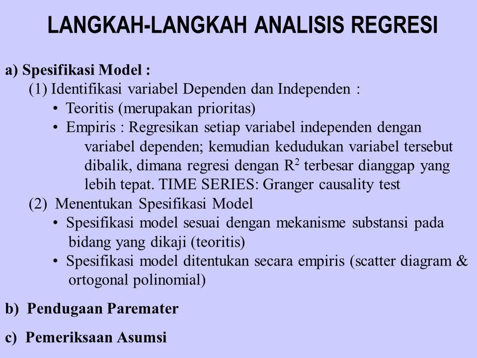 LANGKAH-LANGKAH ANALISIS REGRESI