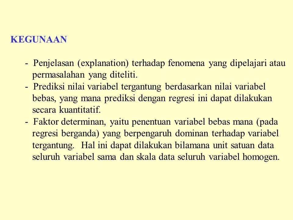 KEGUNAAN Penjelasan (explanation) terhadap fenomena yang dipelajari atau. permasalahan yang diteliti.