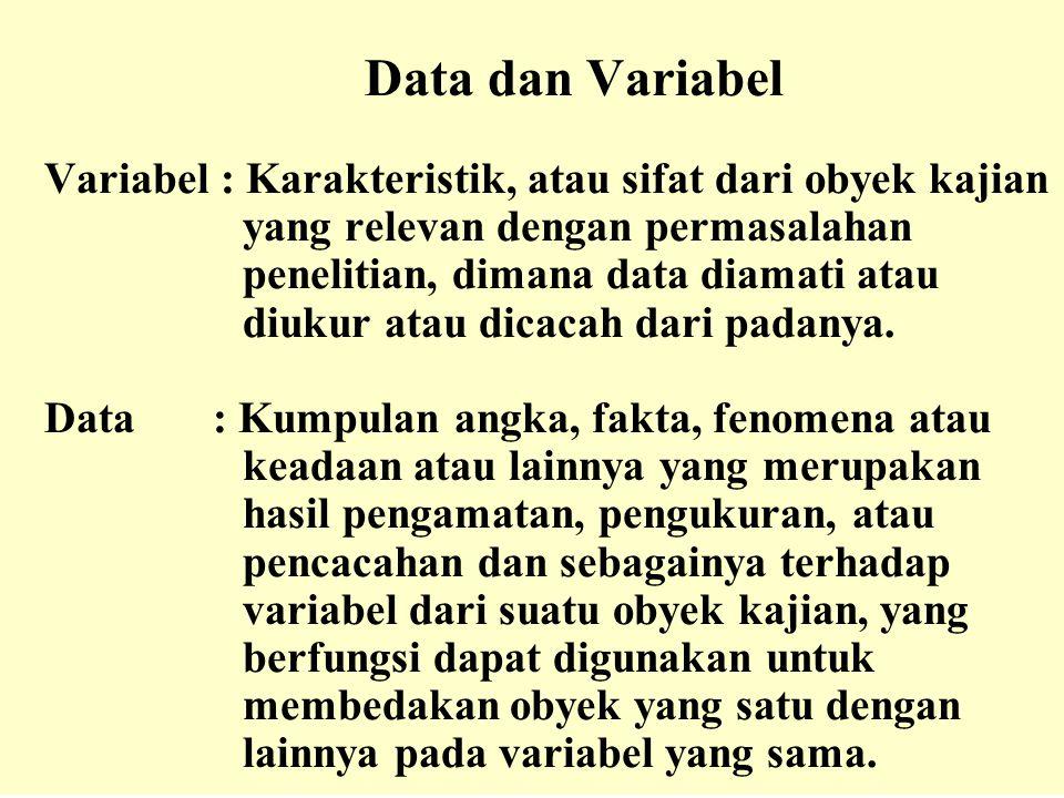 Data dan Variabel Variabel : Karakteristik, atau sifat dari obyek kajian