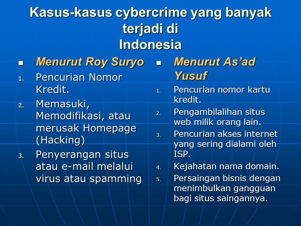 Kasus-kasus cybercrime yang banyak terjadi di Indonesia