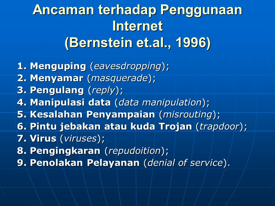 Ancaman terhadap Penggunaan Internet (Bernstein et.al., 1996)