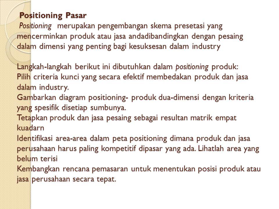 Positioning Pasar Positioning merupakan pengembangan skema presetasi yang mencerminkan produk atau jasa andadibandingkan dengan pesaing dalam dimensi yang penting bagi kesuksesan dalam industry Langkah-langkah berikut ini dibutuhkan dalam positioning produk: Pilih criteria kunci yang secara efektif membedakan produk dan jasa dalam industry.