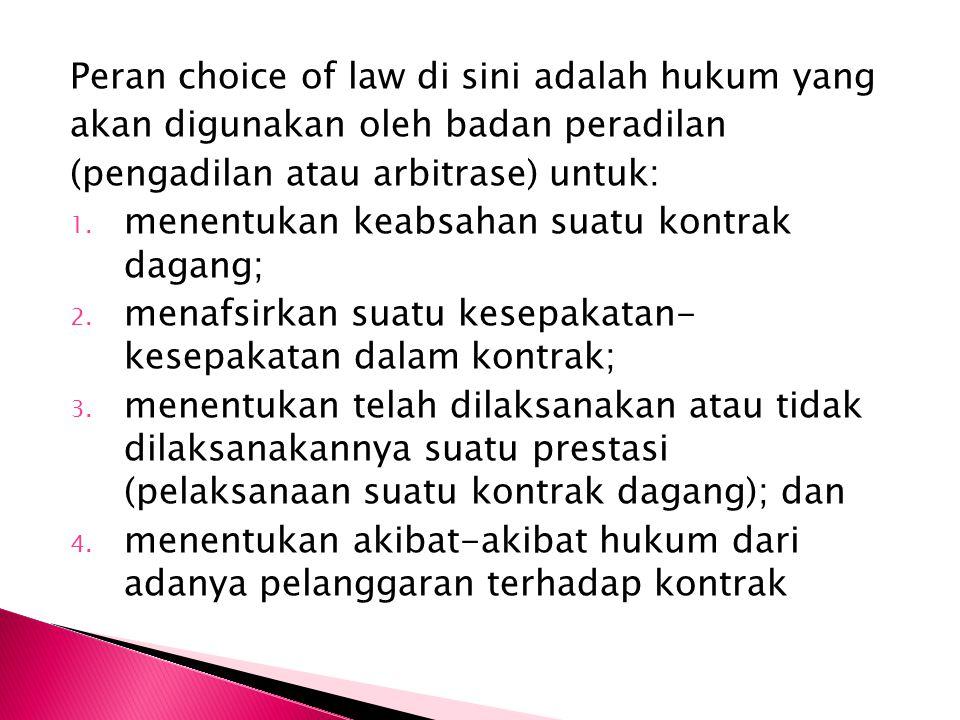 Peran choice of law di sini adalah hukum yang