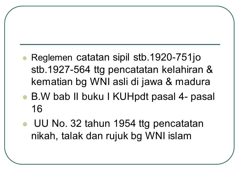 B.W bab II buku I KUHpdt pasal 4- pasal 16