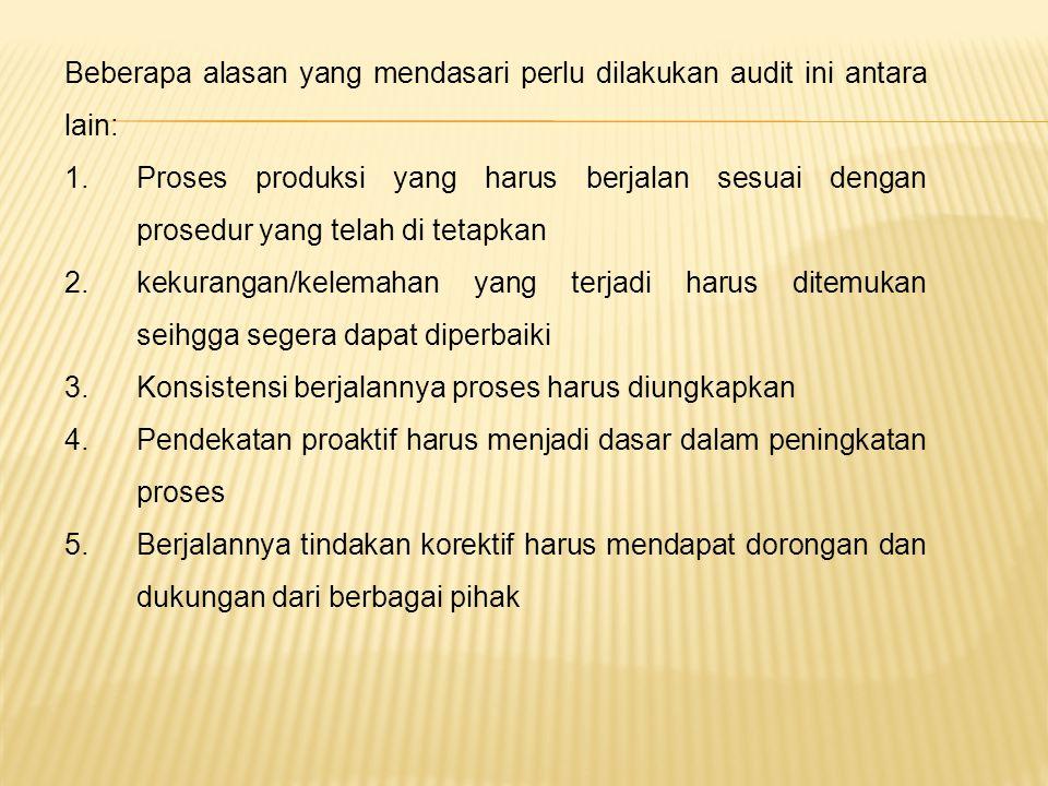 Beberapa alasan yang mendasari perlu dilakukan audit ini antara lain: