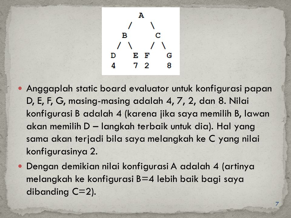 Anggaplah static board evaluator untuk konfigurasi papan D, E, F, G, masing-masing adalah 4, 7, 2, dan 8. Nilai konfigurasi B adalah 4 (karena jika saya memilih B, lawan akan memilih D – langkah terbaik untuk dia). Hal yang sama akan terjadi bila saya melangkah ke C yang nilai konfigurasinya 2.