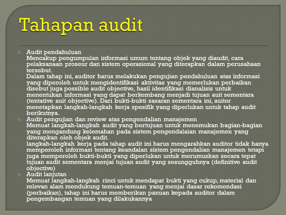 Tahapan audit Audit pendahuluan