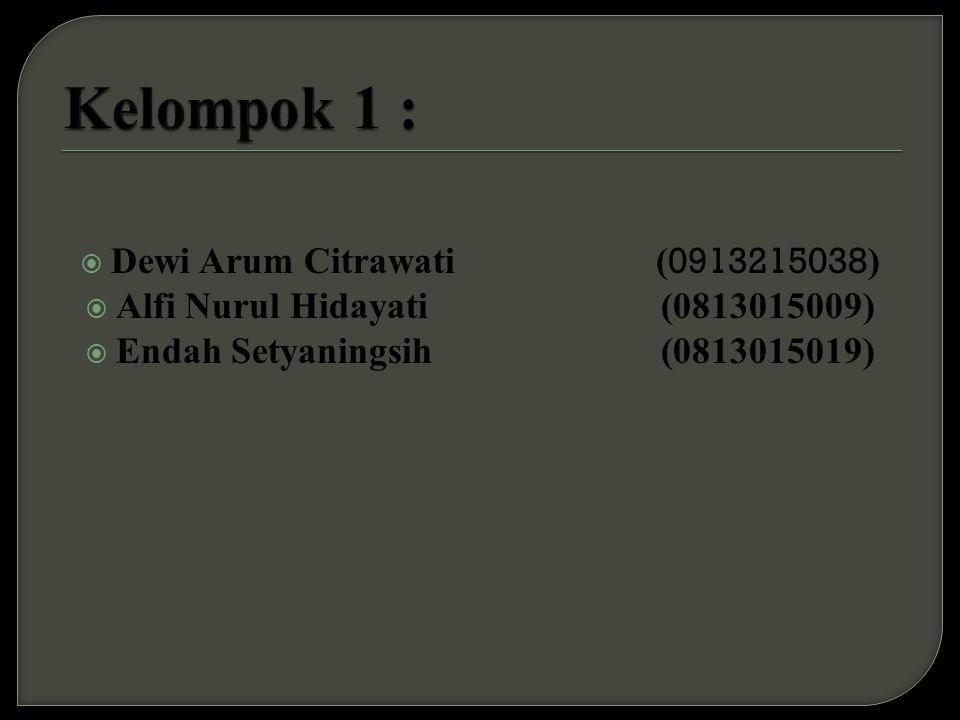 Kelompok 1 : Dewi Arum Citrawati (0913215038)