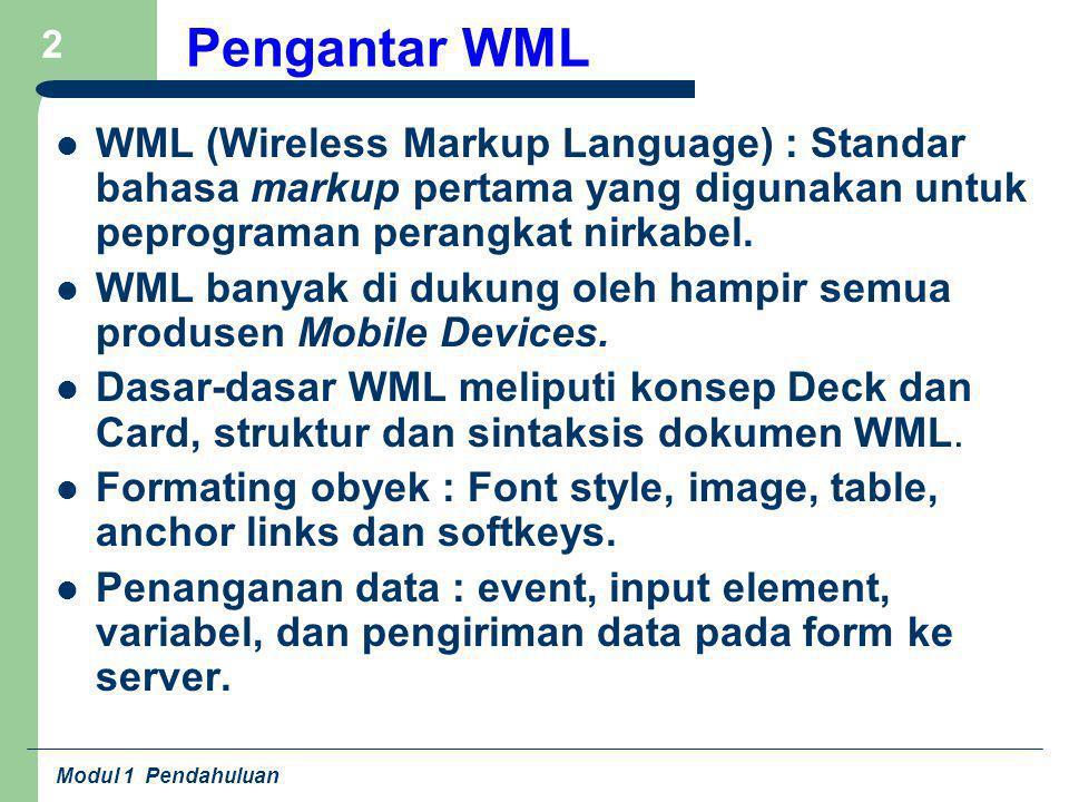 Pengantar WML WML (Wireless Markup Language) : Standar bahasa markup pertama yang digunakan untuk peprograman perangkat nirkabel.
