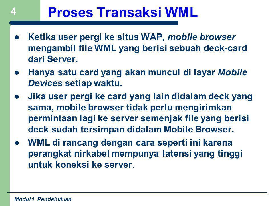 Proses Transaksi WML Ketika user pergi ke situs WAP, mobile browser mengambil file WML yang berisi sebuah deck-card dari Server.