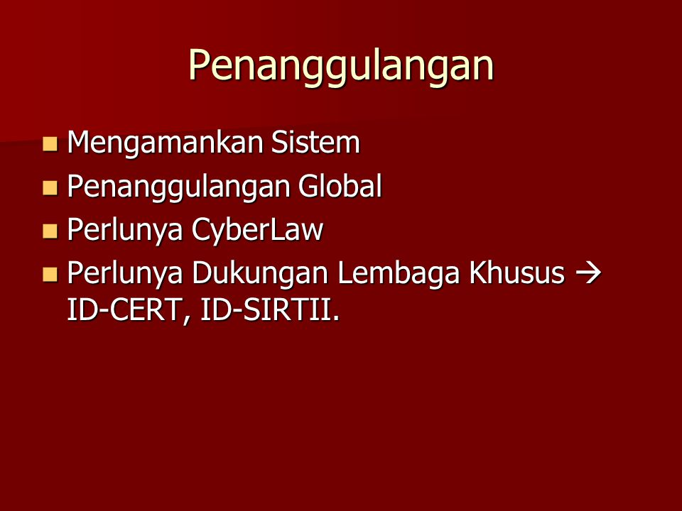 Penanggulangan Mengamankan Sistem Penanggulangan Global
