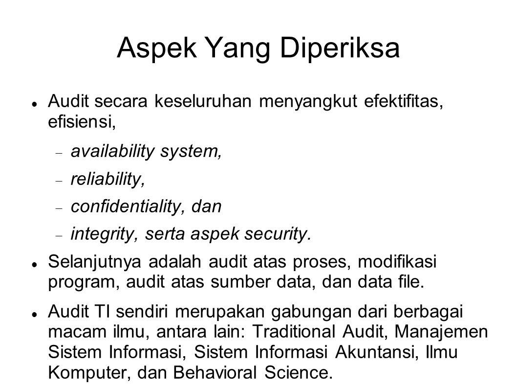 Aspek Yang Diperiksa Audit secara keseluruhan menyangkut efektifitas, efisiensi, availability system,