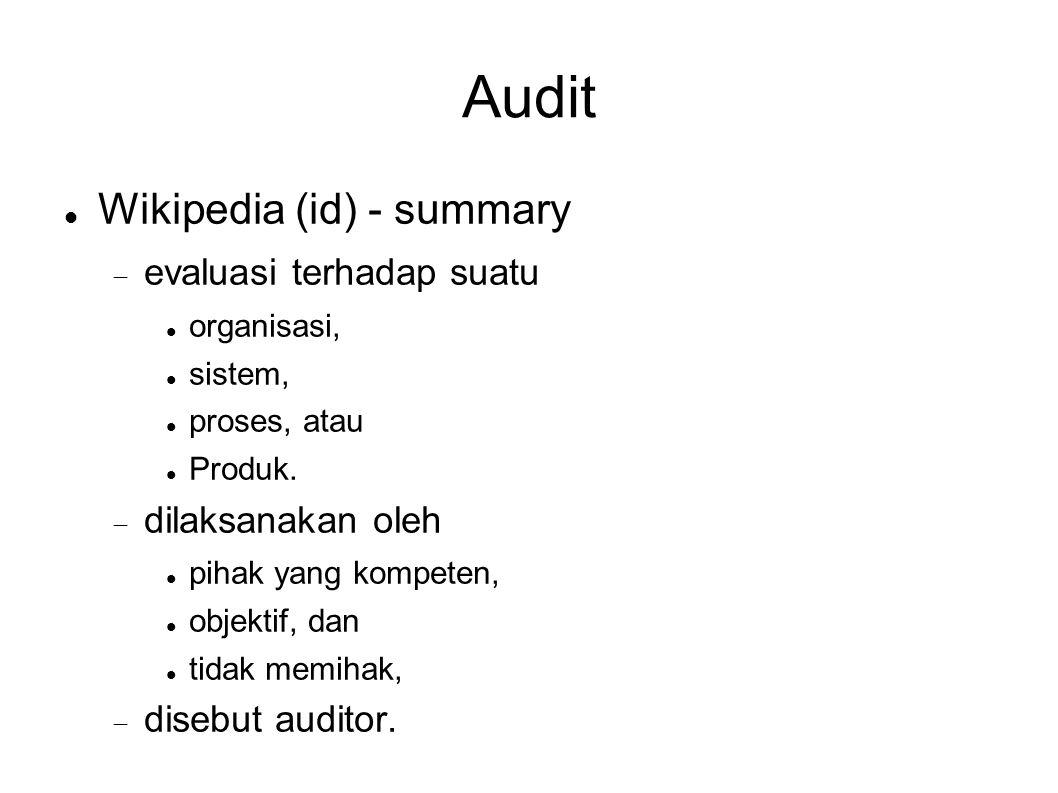 Audit Wikipedia (id) - summary evaluasi terhadap suatu
