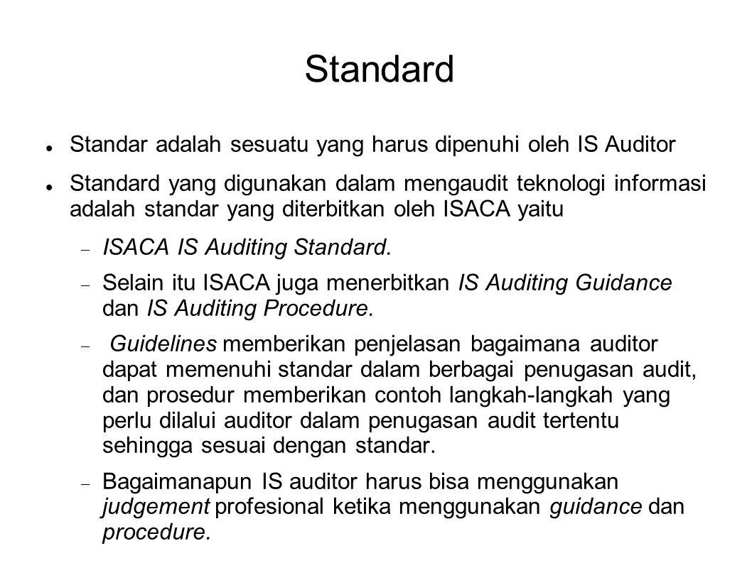 Standard Standar adalah sesuatu yang harus dipenuhi oleh IS Auditor