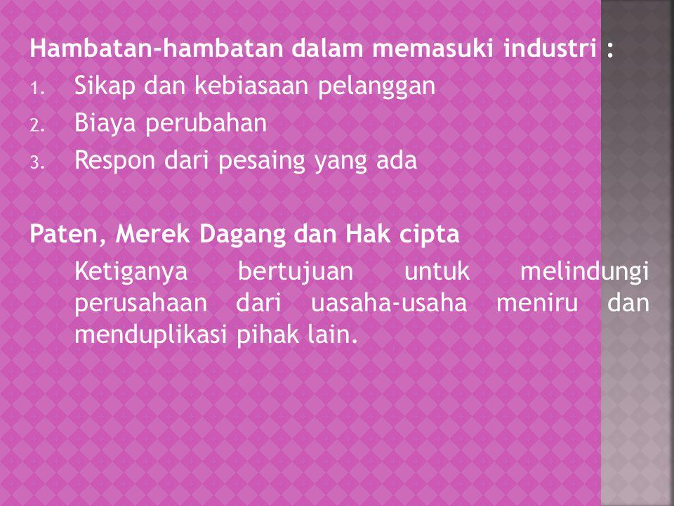 Hambatan-hambatan dalam memasuki industri :