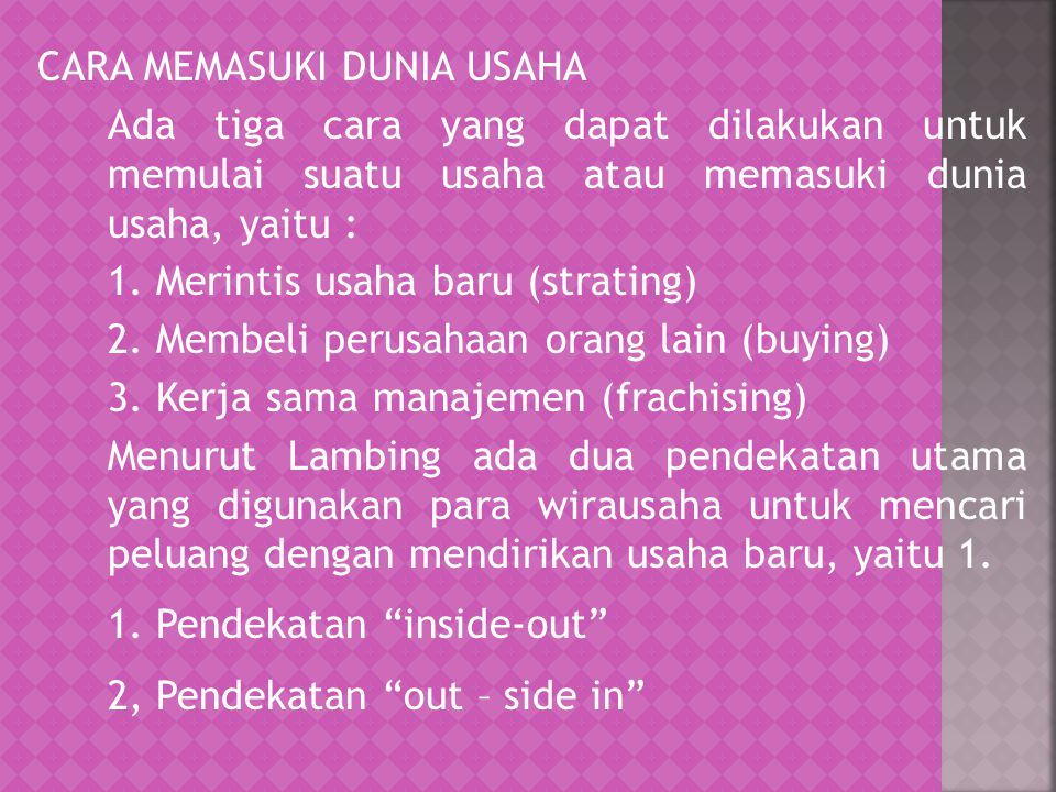 2, Pendekatan out – side in