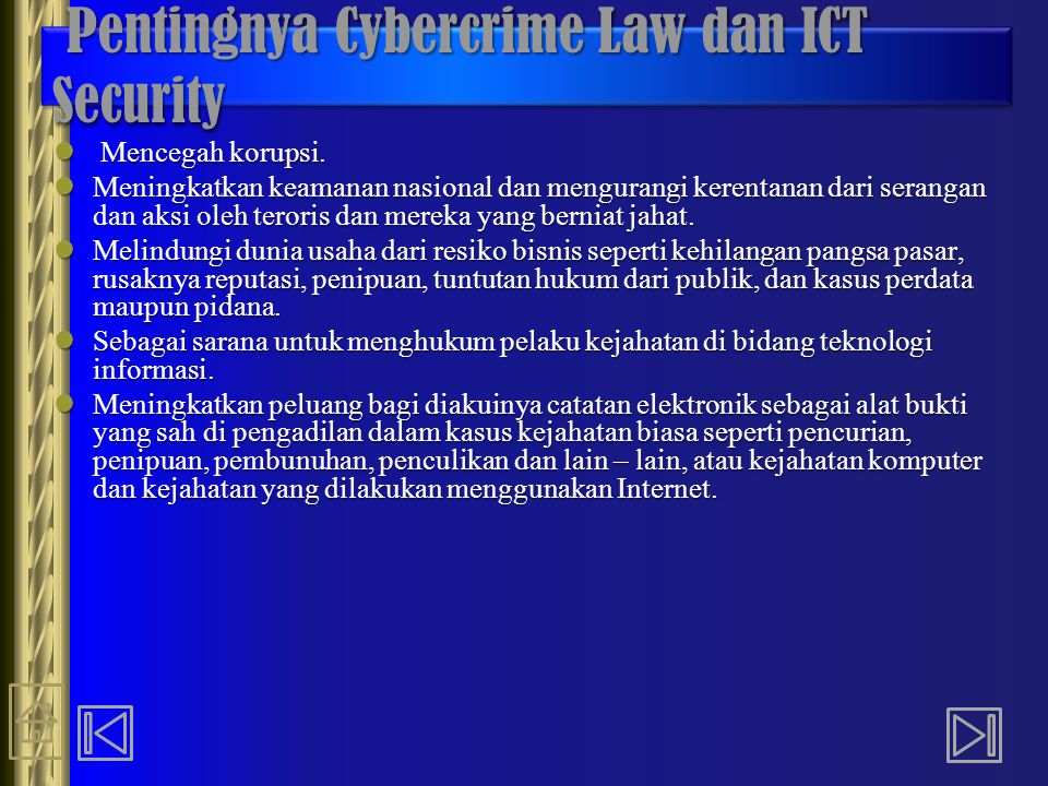 Pentingnya Cybercrime Law dan ICT Security