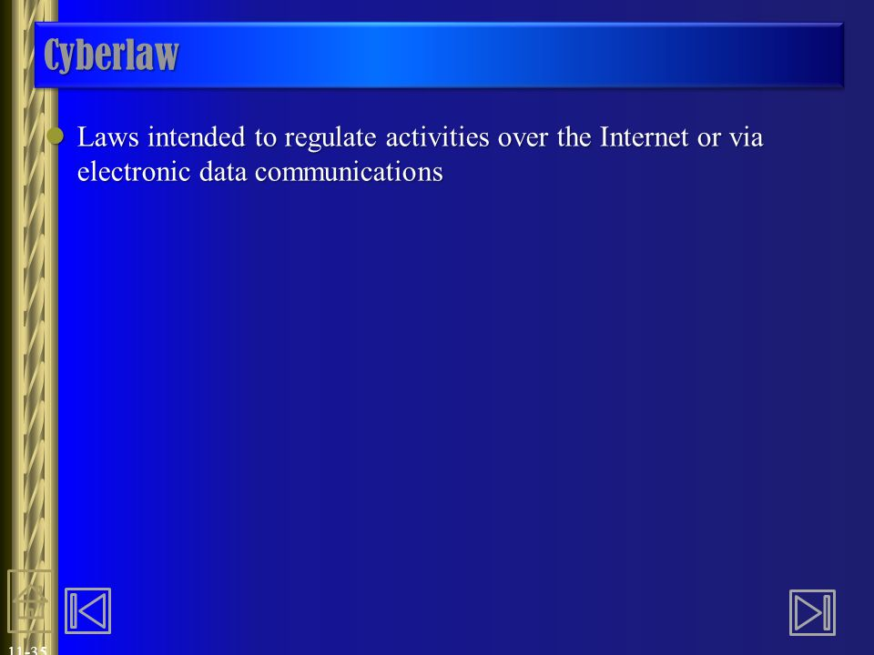 Cyberlaw Laws intended to regulate activities over the Internet or via electronic data communications.
