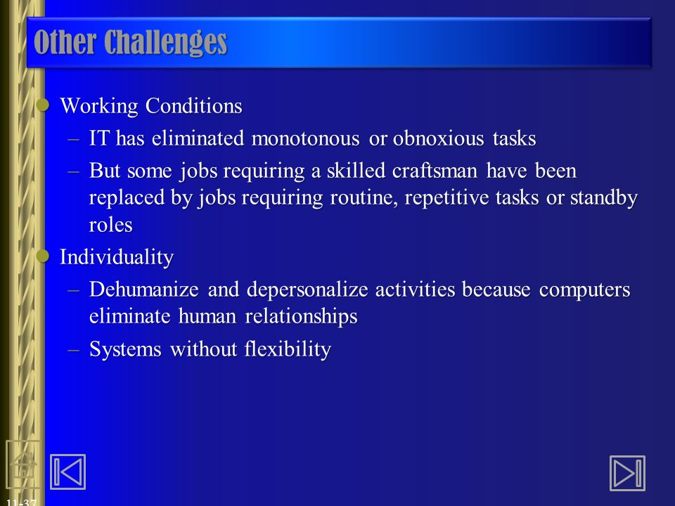 Other Challenges Working Conditions