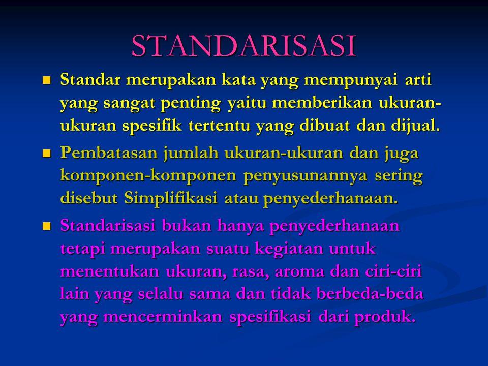 STANDARISASI Standar merupakan kata yang mempunyai arti yang sangat penting yaitu memberikan ukuran-ukuran spesifik tertentu yang dibuat dan dijual.